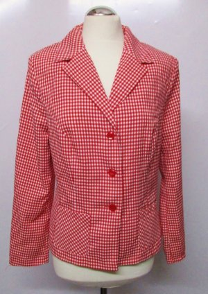Geruite blouse wit-rood Polyester