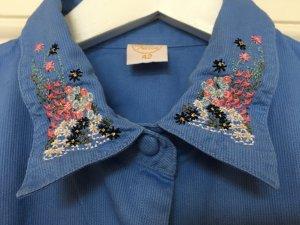 Vintage Bluse Blumen Stickerei Blau 42
