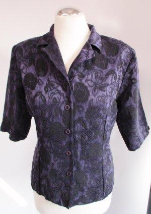 Vintage Bluse Brokat Größe M 40 Lila Schwarz Rosen Muster Rockabilly Kurzbluse Kurzarm Viskose