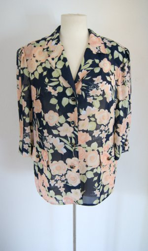 Vintage Bluse bunt-floral, oversized Bluse geblümt, 20er boho preppy
