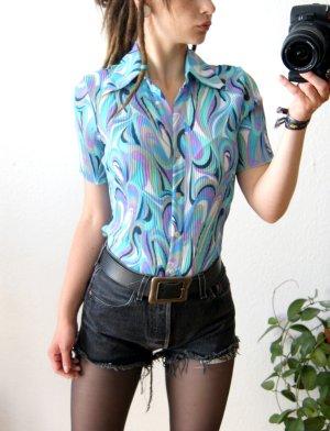 Vintage Bluse bunt-plissiert, figurbetonte psychedelic Bluse ornamental, 70er hippie blogger