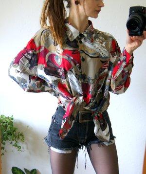 Vintage Bluse buntes Muster Spanien, oversized Bluse 80er