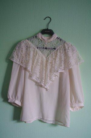 Vintage Bluse | Creamweiß Spitze Größe 36/38 Spitzenkragen Extravagant Boho