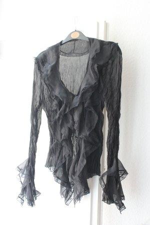 Vintage Bluse Crinkle Spitze Gr.36/38