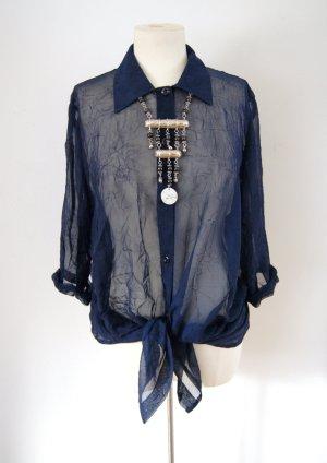 Vintage Bluse dunkelblau-transparent, oversized Bluse Knitteroptik, grunge festival blogger