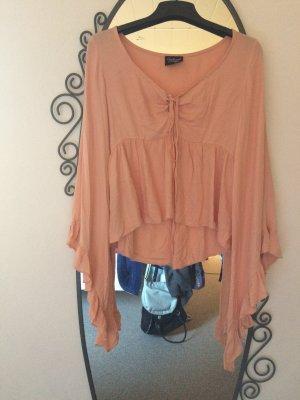 Vintage Bluse Fledermausarme geschnürter ausschnitt rosa