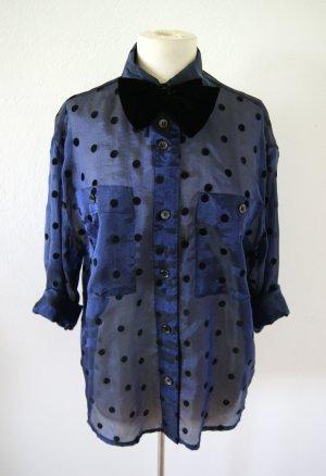 Vintage Bluse gepunktet, metallic Bluse, blogger
