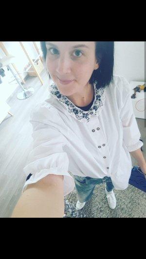 Vintage Bluse Häkelkragen Oversize Boyfriend Loose Fit