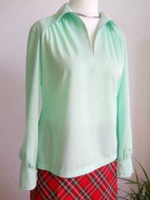 Vintage Bluse hellgrün/mint mit Spitzkragen Gr. 40