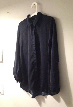 Vintage Bluse Hemd dunkelblau mit schwarzem Muster leicht locker Gr 36 38 40