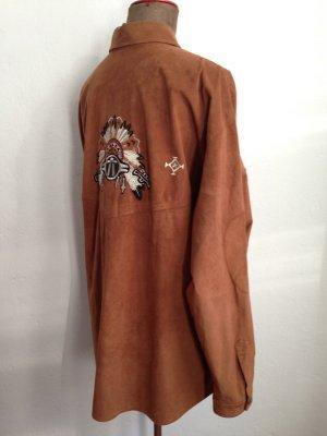 Vintage Bluse/ Hemd in Wildleder Optik mit Stickereien von Bogner, Gr. L