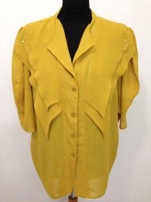 Vintage Bluse in Senfgelb, Gr. 42/44