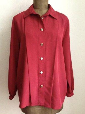 Vintage Bluse in Ziegelrot mit goldenen Knöpfen, Gr. 42