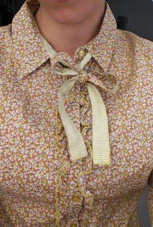 Vintage Bluse Jake*s Blümchen Streifen Schluppenbluse Größe S grün gelb weiß