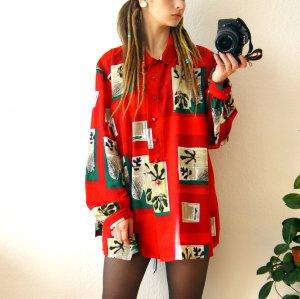 Vintage Bluse knallrot, oversized Bluse grafisch Blätter, Herbst blogger alternative