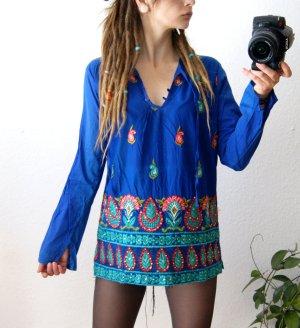 Vintage Bluse königsblau, boho Tunika mit Stickereien, orientalisch 70er Paisley