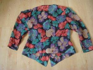 Vintage - Bluse Langarm grün schwarz violett braun purpur Muster bunt Gr. 40/42 -  90er Jahre