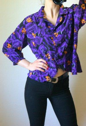 Vintage Bluse lila-floral, oversized Bluse Peplum, boho blogger alternative