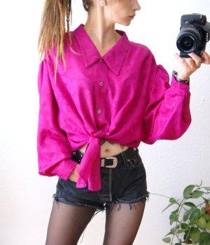 Vintage Bluse magenta, oversized Bluse strukturiert beere, preppy 80er blogger
