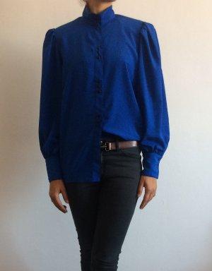 Vintage Bluse marineblau Schulterpolster