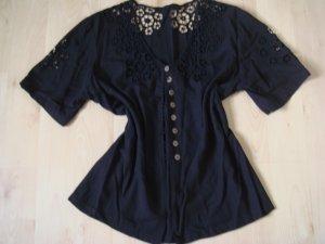 Vintage -  Bluse MISS VIA  38 40 schwarz Intarsien Lochmuster Gothik