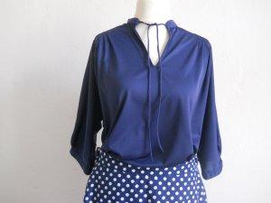 Vintage Bluse mit 3/4-Ärmeln und Schluppen-Stehkragen Gr. 42 - 48 Oversize