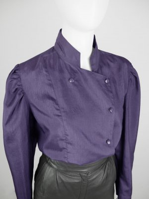 Marco Pecci Stand-Up Collar Blouse lilac synthetic fibre