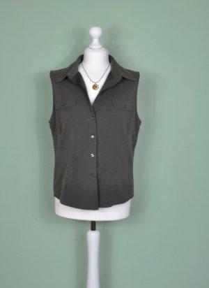 Vintage Bluse mit Knopfleiste in Khaki