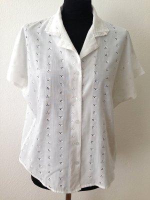 Vintage Bluse mit Lochstickerei, Gr. 40
