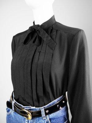 Blusa collo a cravatta nero Fibra sintetica