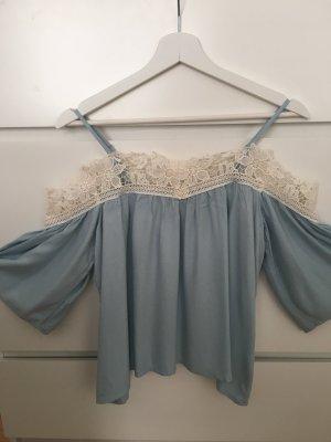 H&M Blusa in merletto beige chiaro-azzurro