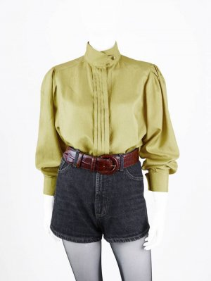 Stand-Up Collar Blouse yellow-lime-green polyester
