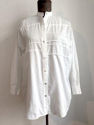 Vintage Bluse mit Stehkragen und  Borten, passt Gr. 40-44