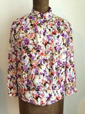 Vintage Bluse mit Stehkragen und Schößchen, passt Gr. 40/42