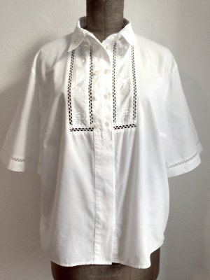 Vintage Bluse mit Stickereien und Lochspitze, passt Gr. 42-46