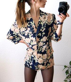 Vintage Bluse pastell-dunkelblau, florale Bluse, alternative preppy