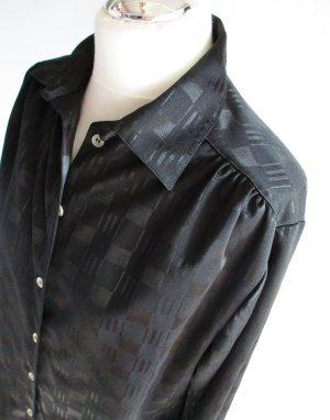 Vintage Blusa brillante negro Poliéster