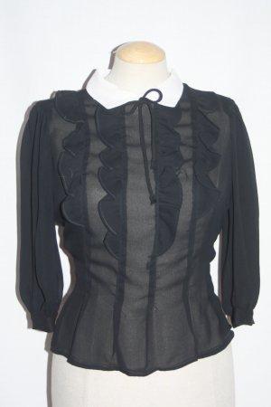 Vintage Bluse schwarz weiß Rüschen tailliert 36