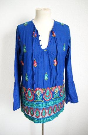 Vintage Bluse Stickereien, boho Tunika blau orientalisch, 70er Paisley