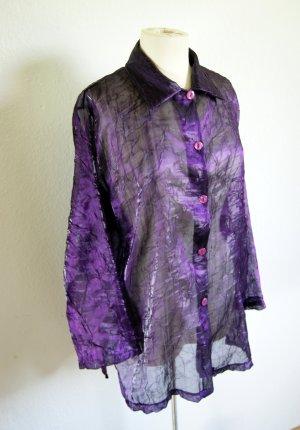 Vintage Bluse transparent, lila glänzende oversized Bluse strukturiert, 80s grunge