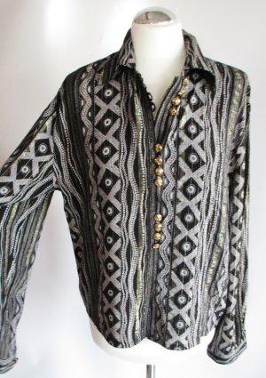 Vintage Bluse Volana Größe 38 M Lurex Schwarz Grau Goldfarbe Glitzer Metall Streifen Punkte Dots Oversize Retro Viskose 80er Retro