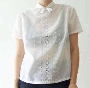 Vintage Short Sleeved Blouse white cotton