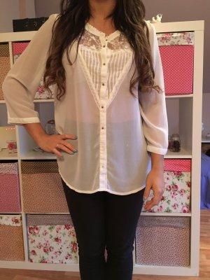 Vintage Bluse weiß Größe 42