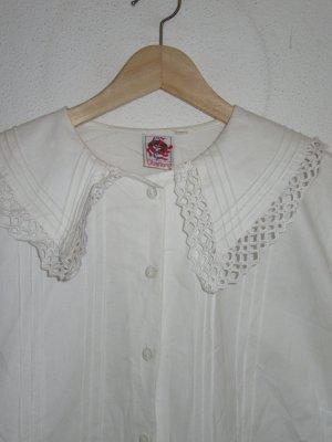 Vintage Bluse weiß Spitzen Retro Oversize Rüschen