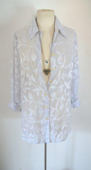Vintage Bluse weiß-transparent, oversized Bluse florale Ornamentik, boho festival blogger