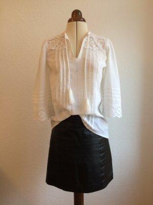 Vintage Boho-Bluse mit Spitze und Trompetenärmeln