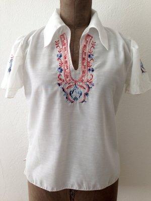Vintage Boho Bluse mit Stickerei, Gr. 36/38