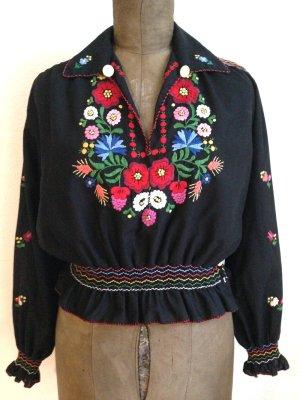 Vintage Boho Bluse mit Stickereien, passt Gr. 38