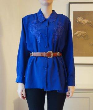 Vintage Boho Bluse Royalblau toller Kragen Oversized bestickt Gr. L
