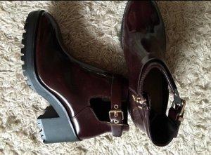 Vintage booties Chelsea Boots cut-out Bordeaux